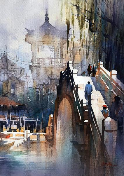 Linda A. Doll Transparent Watercolor Award,  - Footbridge - China by Thomas W. Schaller